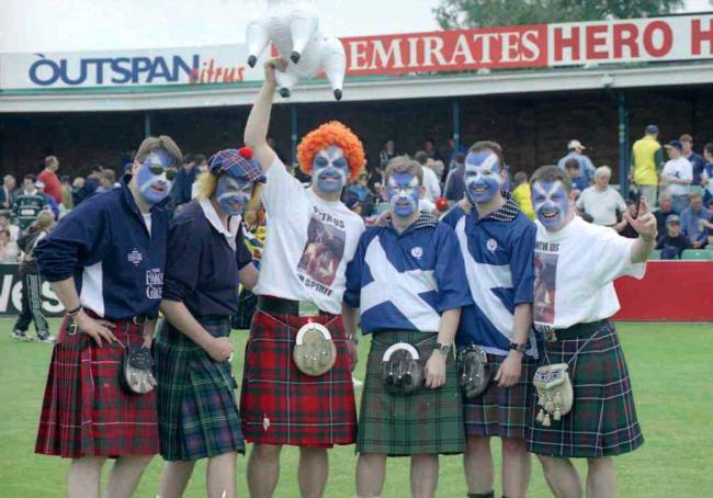 TODAY'S old picture dates back to May 16, 1999, when the New Road Cricket Ground was the venue for the World Cup match between Australia and Scotland. Australia won by six wickets, but the Scots fans pictured here seem jubilant enough - it was Scotlan