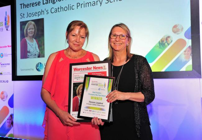Ann Jordan from Worcester University (Right) presents Therese Langford with her award at the Worcester News Worcestershire Education Awards 2019, held at the University of Worcester Arena. Pic Jonathan Barry 20.6.19.