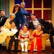 COLOURFUL: The cast of Friendsical face the camera.