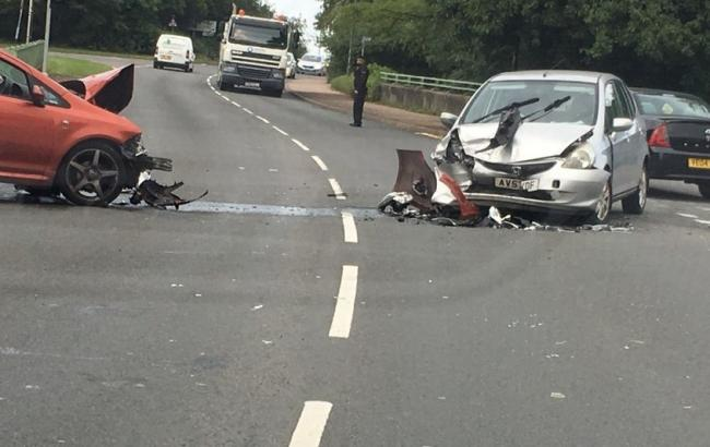 SCENE: A motorist took this photo of two cars involved in a crash on Ombersley Way