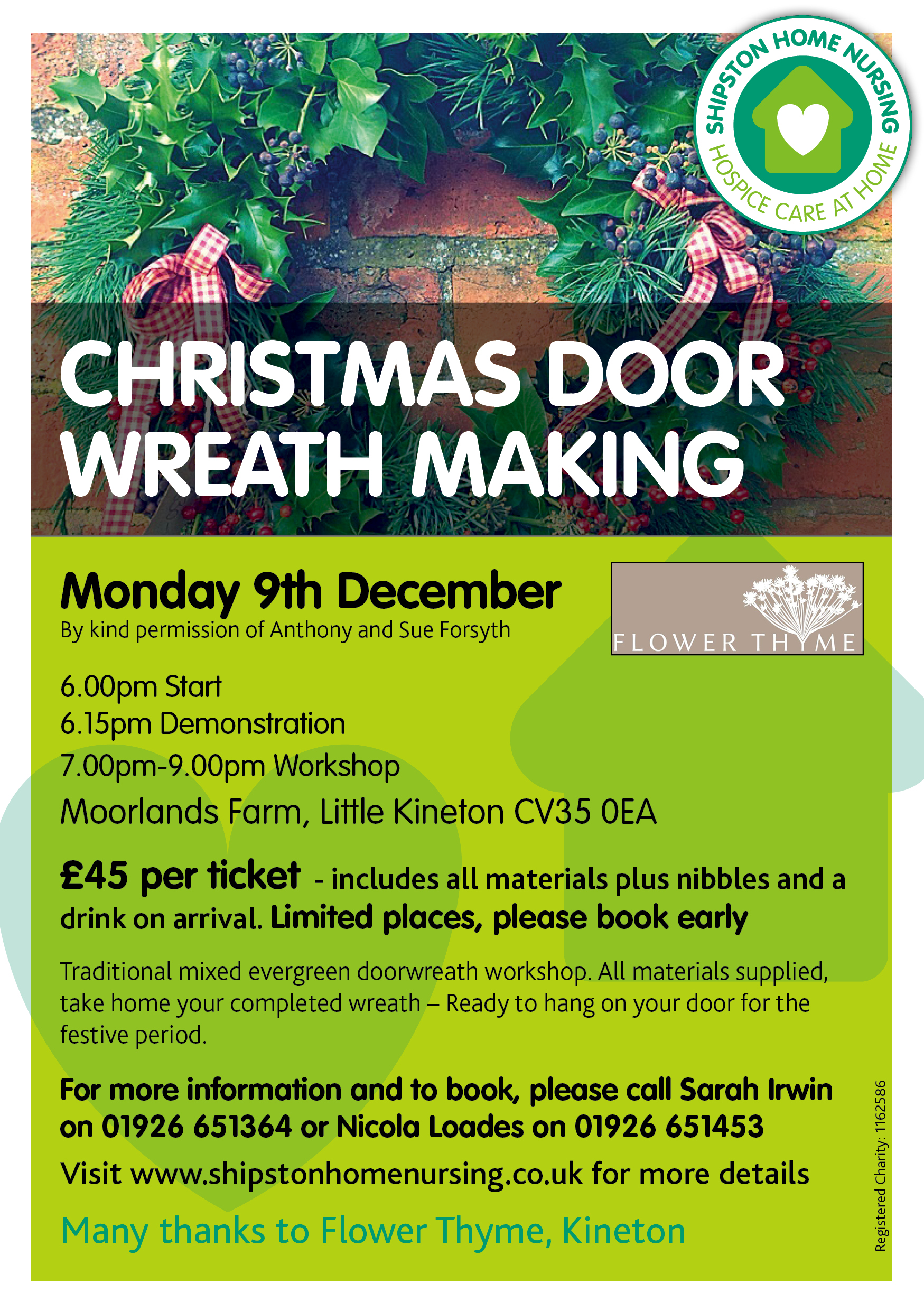 Christmas Wreath Making Workshop - Supporting Shipston Home Nursing