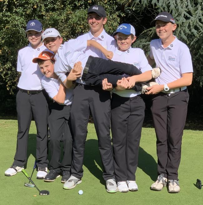 Harry Hawkesford, Ewan Smith, Tom Blizzard, Callum Jones, Samual Richmond and (being held) Jake Jeff-Johnston. Picture: Bromsgrove Golf Club