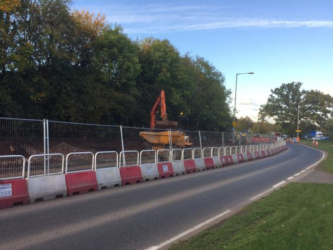 WORKS: Delays have been in place on A38 Copcut since April. Photo taken from Richard Morris' Twitter page