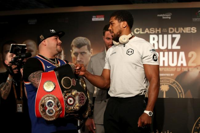 Anthony Joshua, right, is looking to reclaim the titles