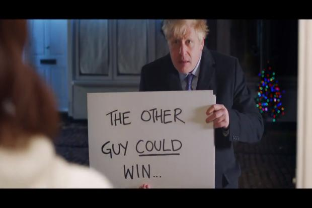Boris Johnson on the doorstep in his Love Actually themed election video