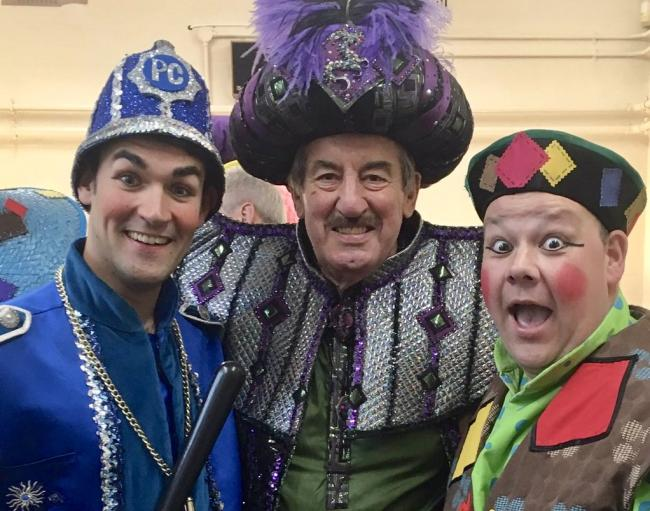 TREMENDOUS TRIO: Danny Rogers as PC Pong (left), John Challis, who played Abanazar (centre) and Mark Rogers (Wishee Washee).