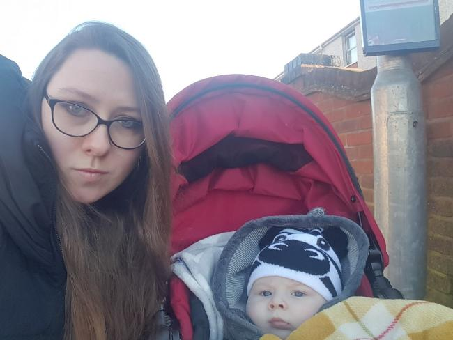 UPSET: Anna Watmore with seven-month-old baby, James
