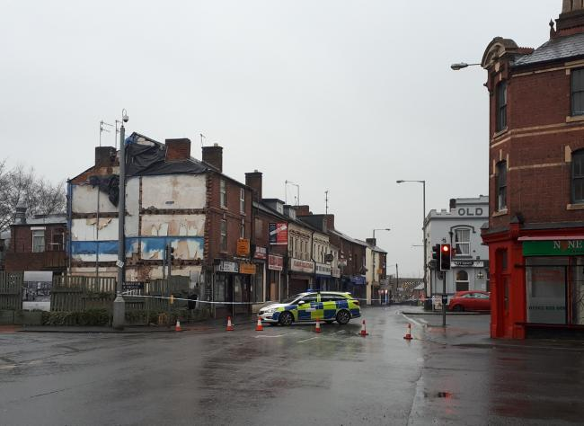 Blackwell Street in Kidderminster is closed as Storm Ciara hits. PIC: @KMinsterCops