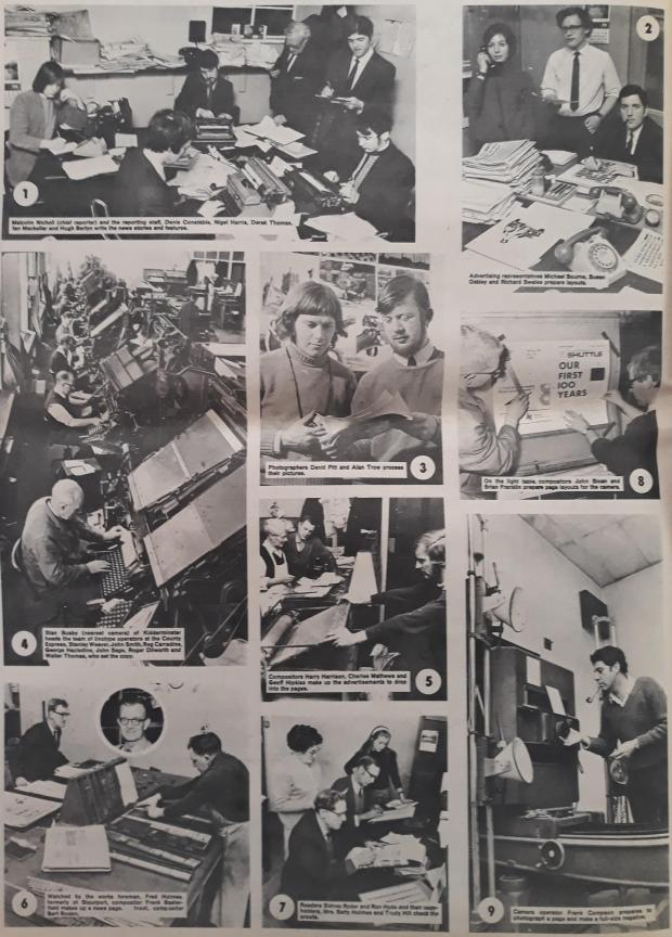 Droitwich Advertiser: The Shuttle's production team in 1970, featured in a centenary edition of the paper
