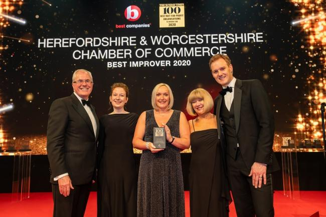 AWARD: Jonathan Austin, founder & CEO, Best Companies, Abigail Robbins, HR executive, Sharon Smith, Herefordshire & Worcestershire Chamber of Commerce CEO, Dawn Hardman, director of HR (Picture: Noah Goodrich)