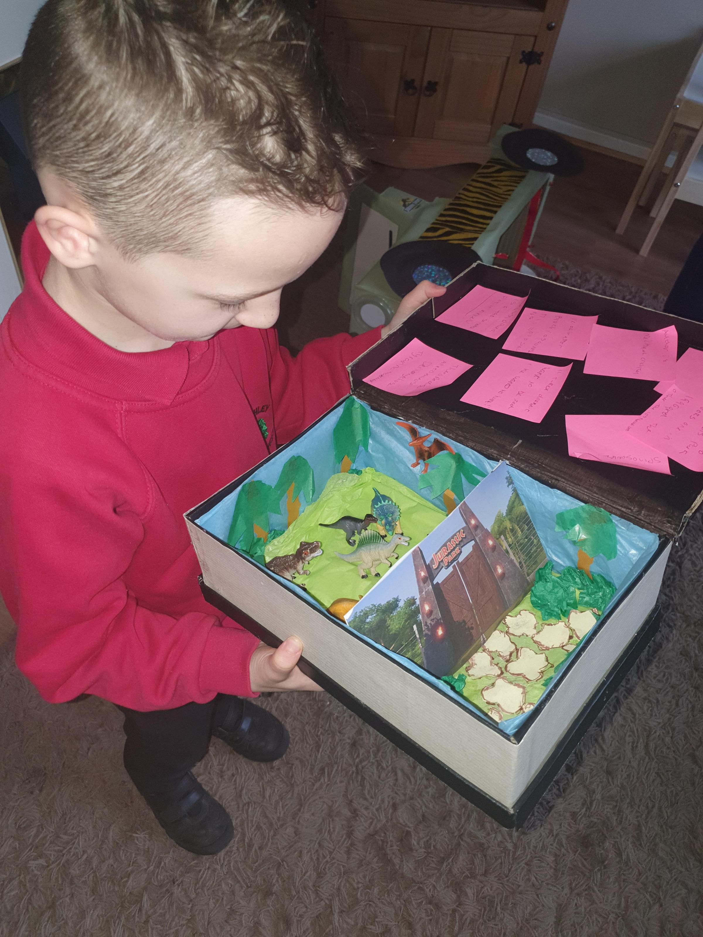 Droitwich Advertiser: Jurassic park book in a box for world book day. Jayden age 7 made the jeep from cardboard all hand made with his nan and grandad.