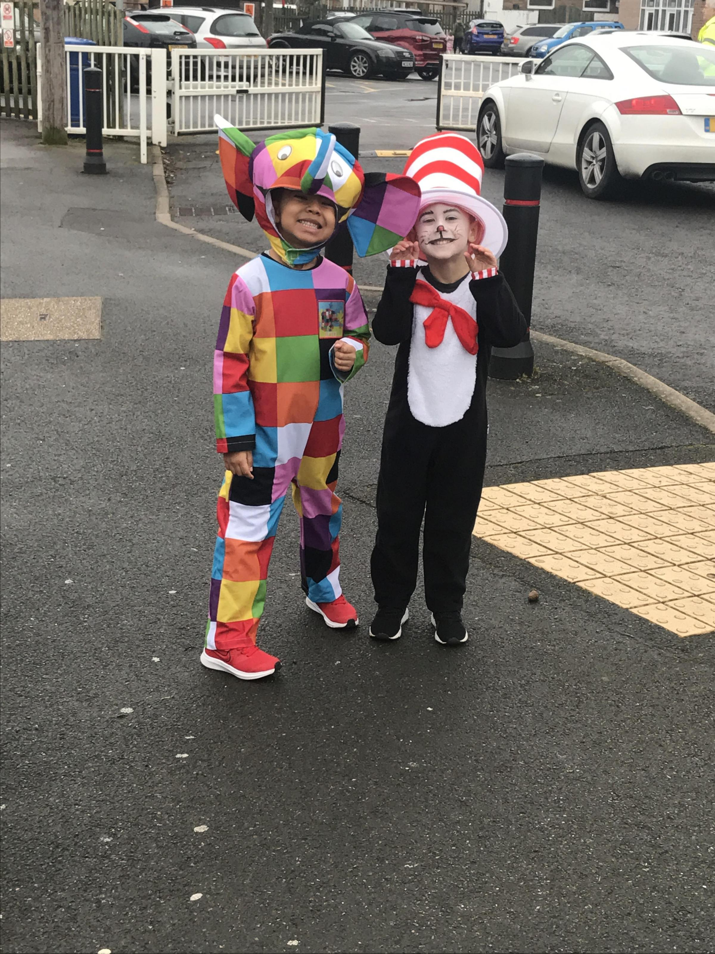 Droitwich Advertiser: Roscoe and Hugo - Elmer the elephant and cat in the hat