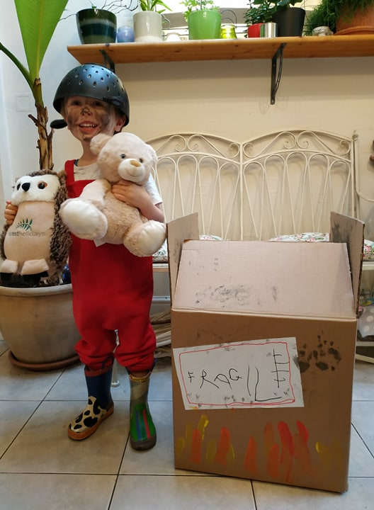 Droitwich Advertiser: Ronnie Webb, aged 4, dressed as Baby Bear from Whatever Next! by Jill Murphy for World Book Day, 2020.