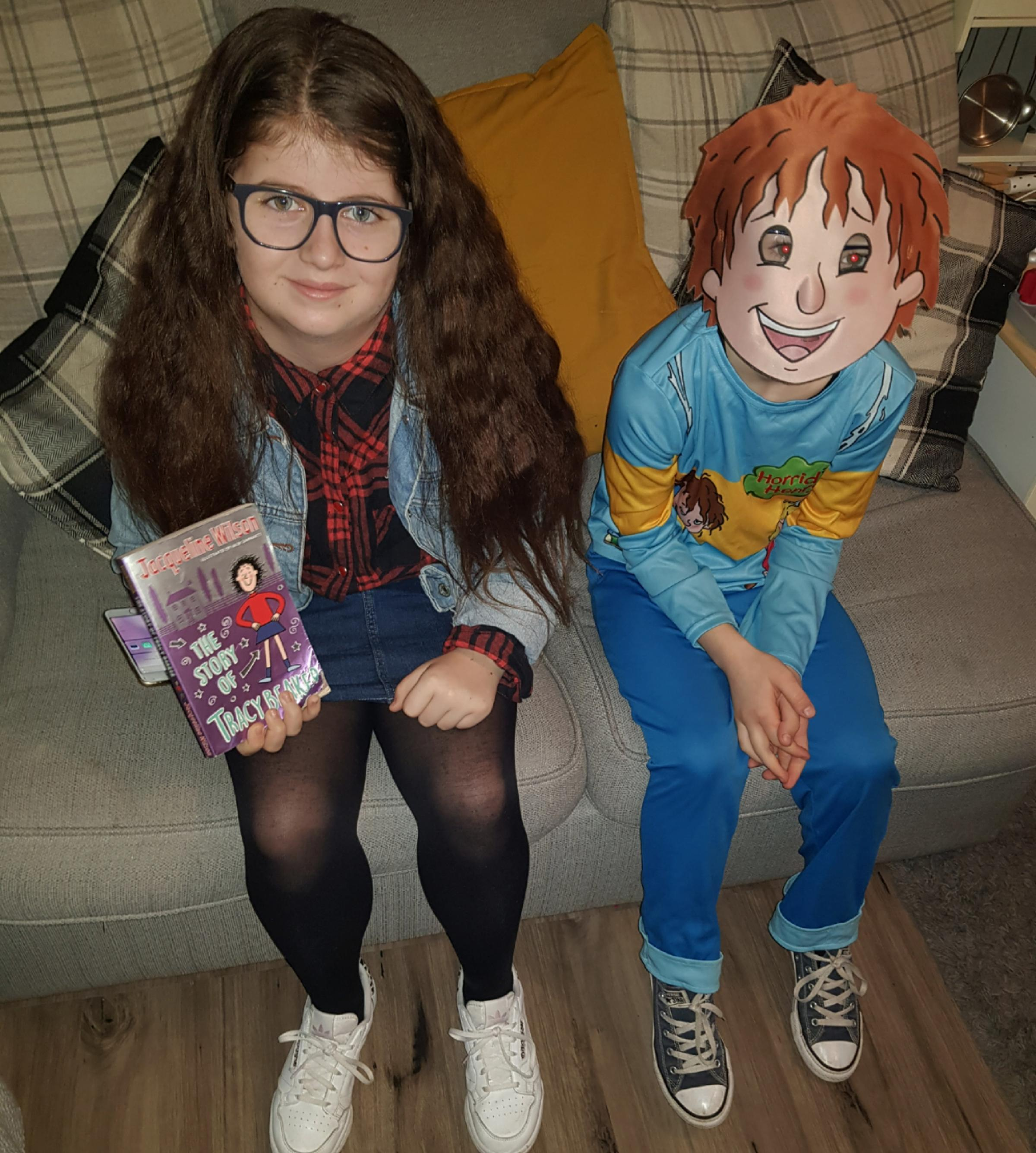 Droitwich Advertiser: Ruby 10 as Tracy Beaker & Millie 8 as Horrid Henry.