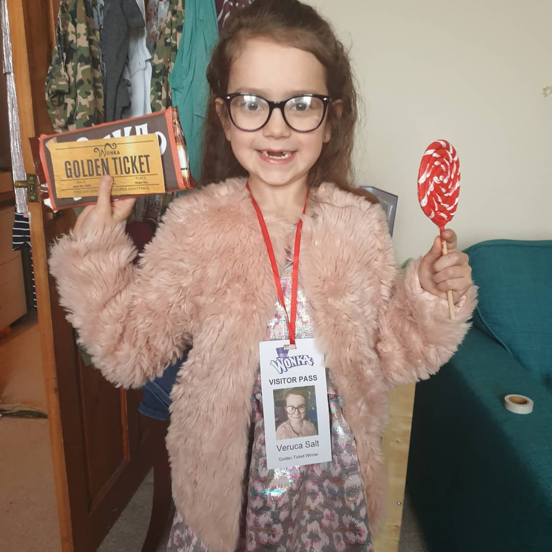 Droitwich Advertiser: Dylan (10) as the Bornean Jungle and Rang Tang from 'Rang Tang in my Bedroom' and Seren (7) as Veruca Salt from 'Charlie and the Chocolate Factory'. From Alcester