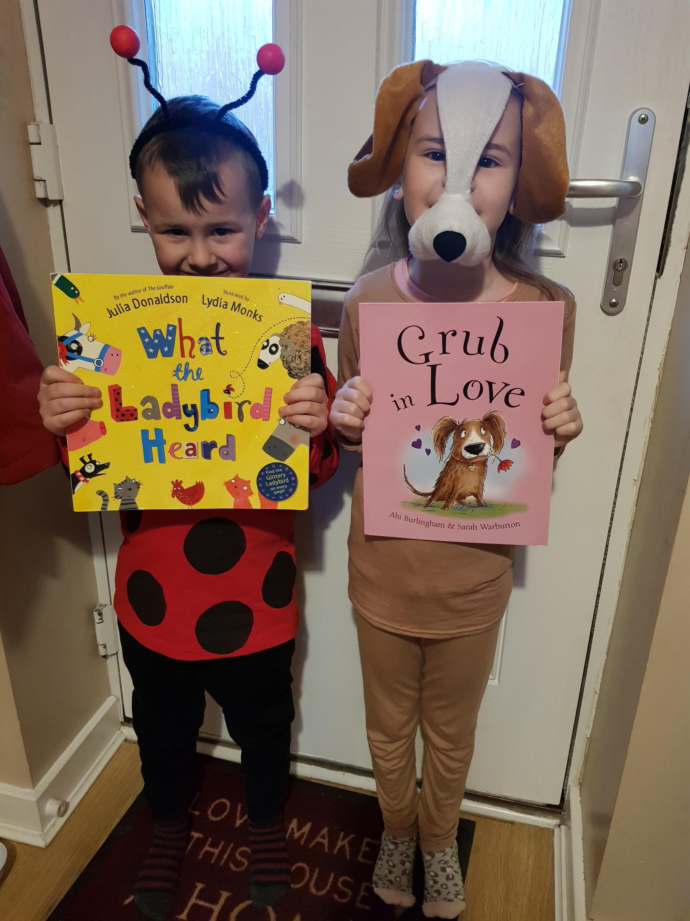"Droitwich Advertiser: Francis age 5, as the ladybird from the book ""what the ladybird heard"" by Julia Donaldson.Scarlett age 6, as Grub the dog, from the book ""Grub in Love"" by Abi Burlingham."