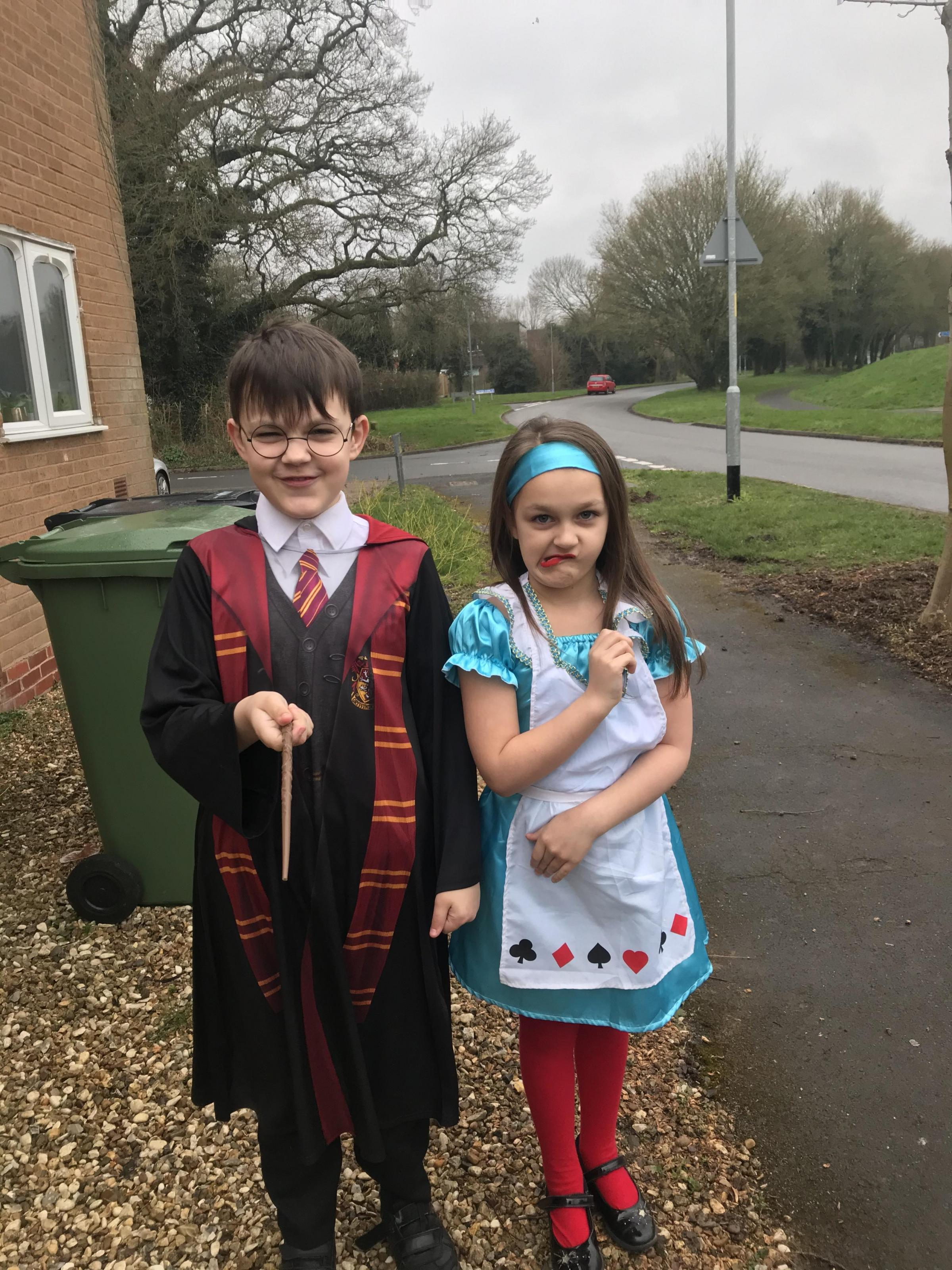 Droitwich Advertiser: Kyle 10 and Georgie-Mae 7 as Harry Potter and Alice in wonderland