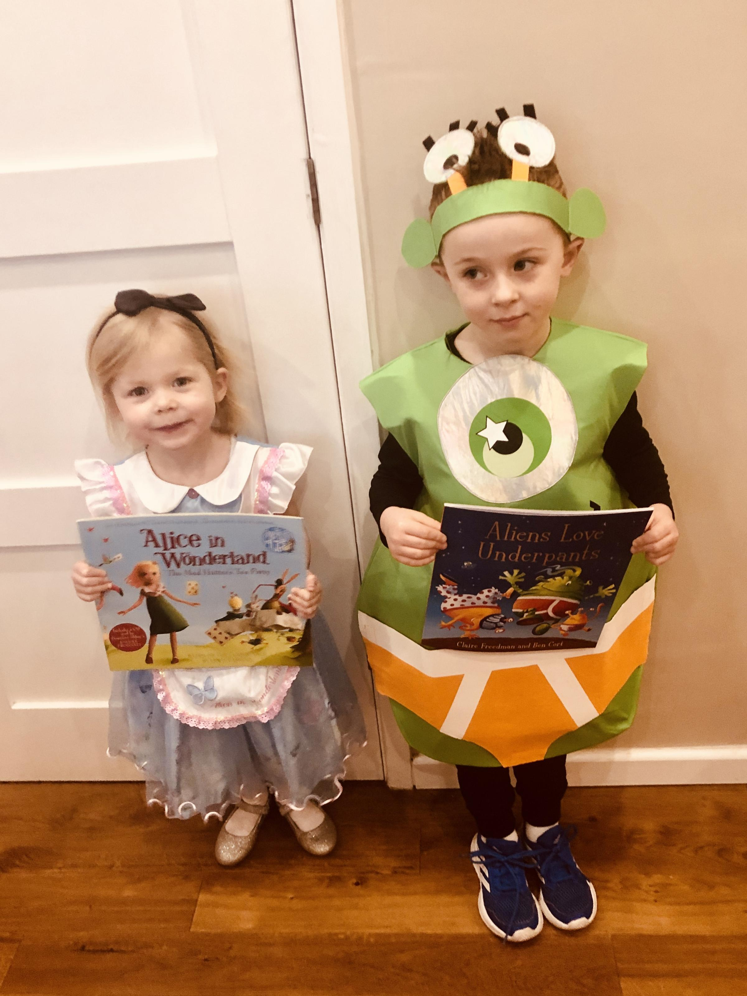 Droitwich Advertiser: This is Molly, age 3 as Alice in wonderland (the Wendy house day nursery) and William, age 5 as Alien loves underpants (Lickey End First School).