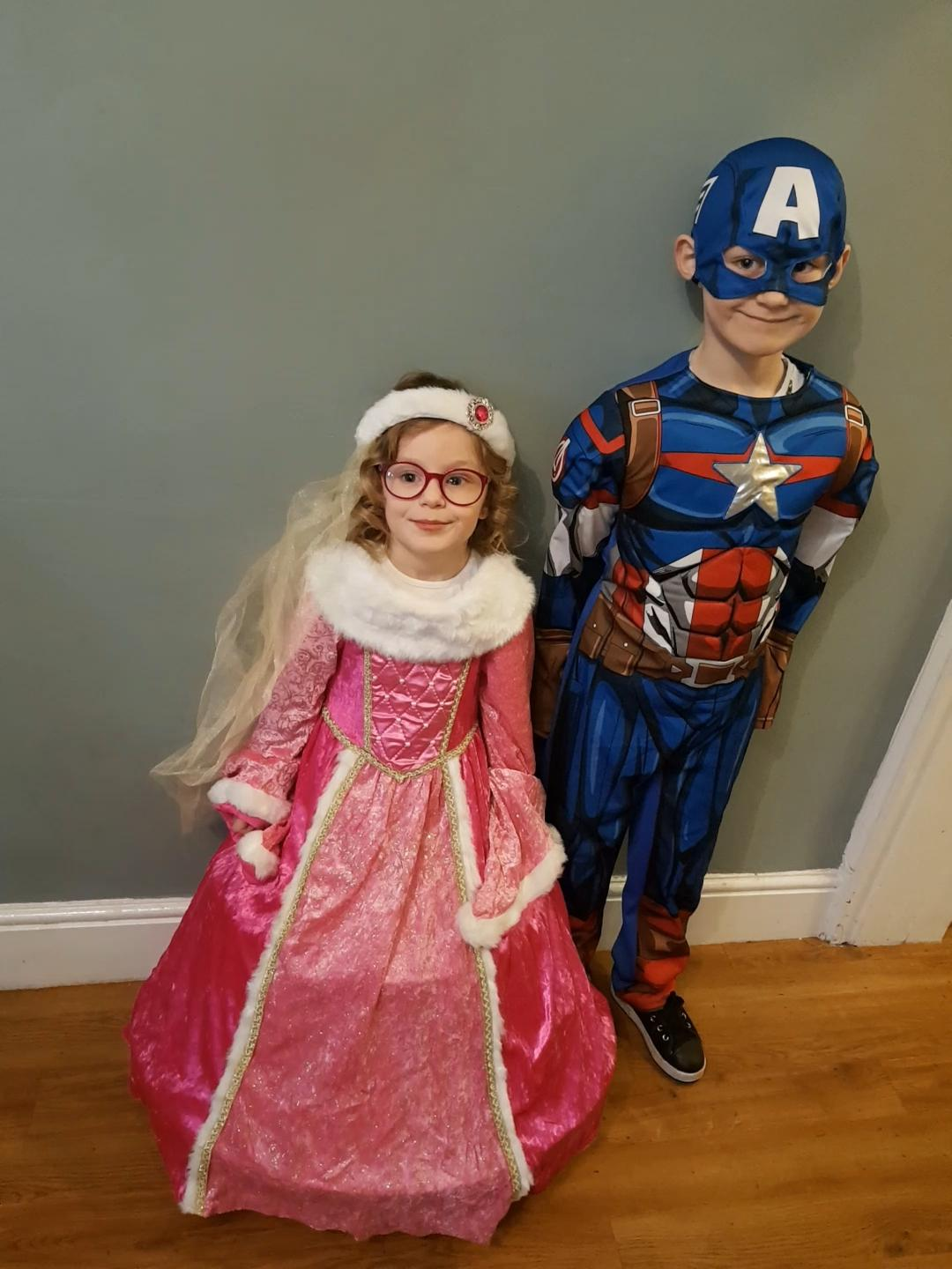 Droitwich Advertiser: Aurora as Princess Aurora and Spencer as captain America