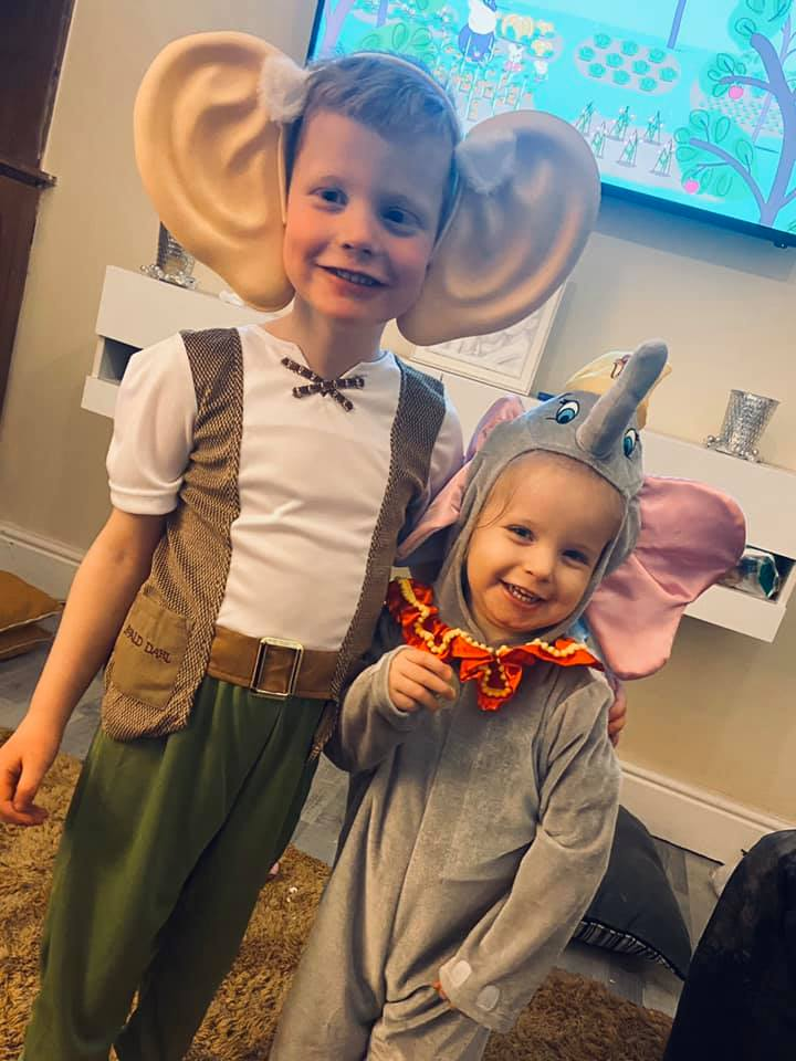 Droitwich Advertiser: Tommie-Jay aged 5 dressed as the BFG & attends st johns primary school. Dottie-Mae aged 2 she doesn't go nursery but wanted to dress up as well