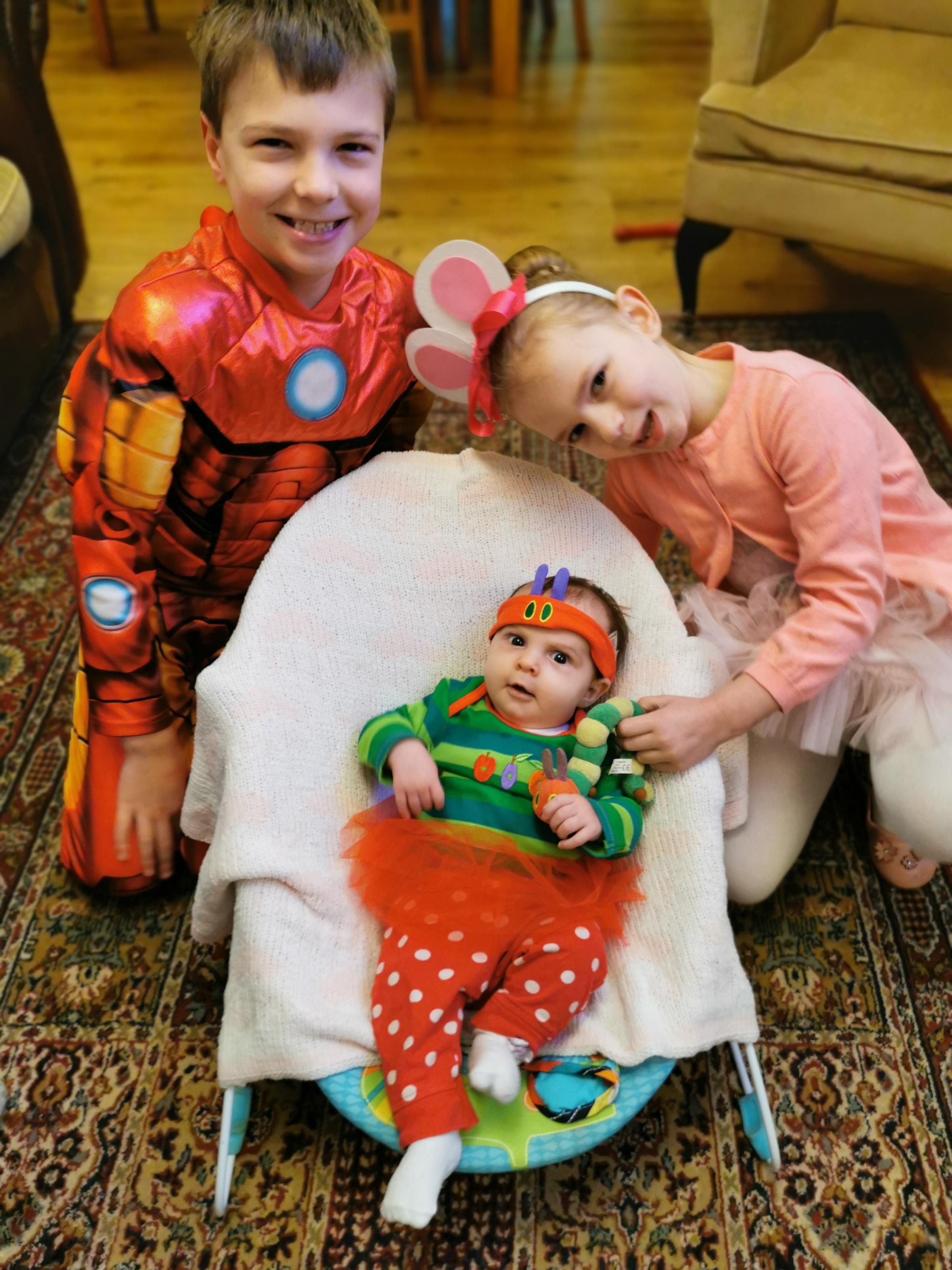 Droitwich Advertiser: Little Emily the hungy caterpillar big sister Isabelle as Angelina ballerina and big brother Ruben as iron man