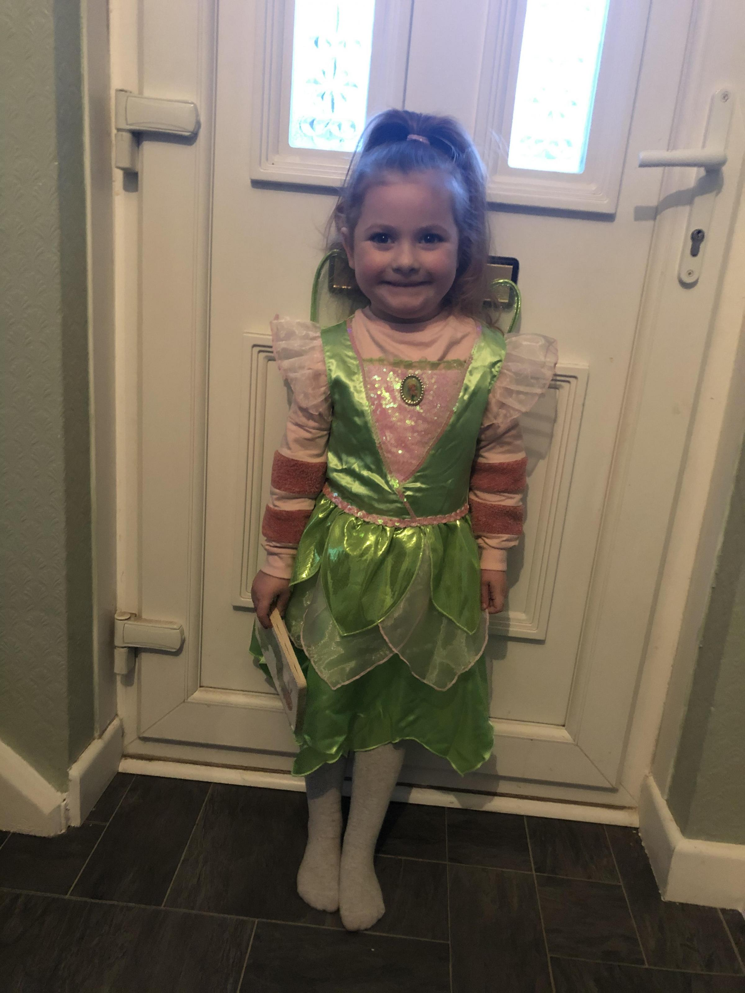 Droitwich Advertiser: Esmee-Kate Eke dressed as tinkerbelle for her Peter Pan themed world book day at school age 4 at foley park school