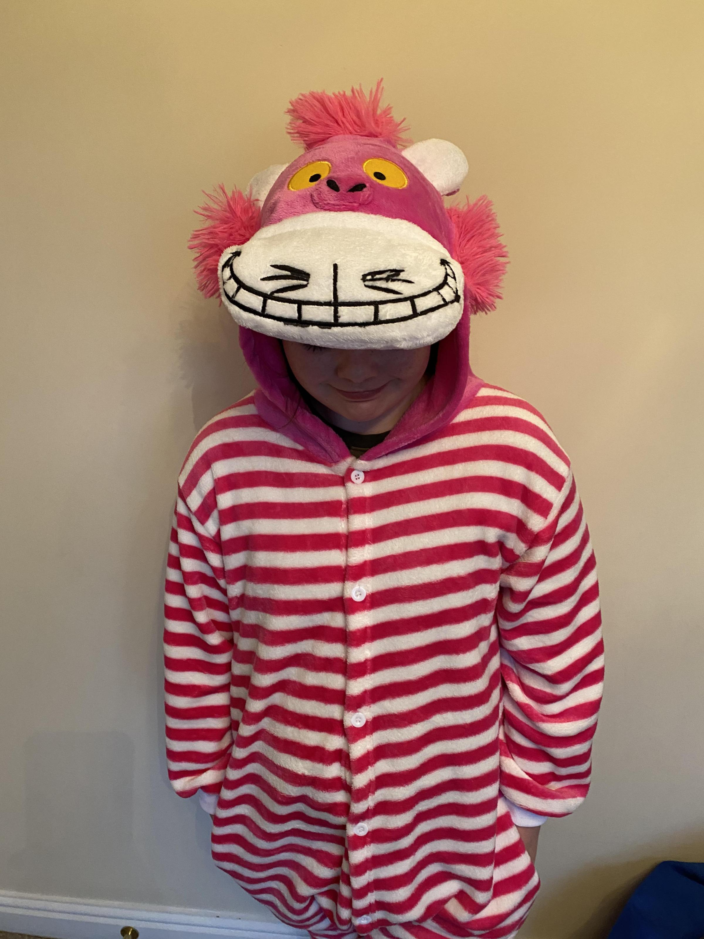 Droitwich Advertiser: Lily as the Cheshire Cat from Alice in Wonderland, World Book Day 2020