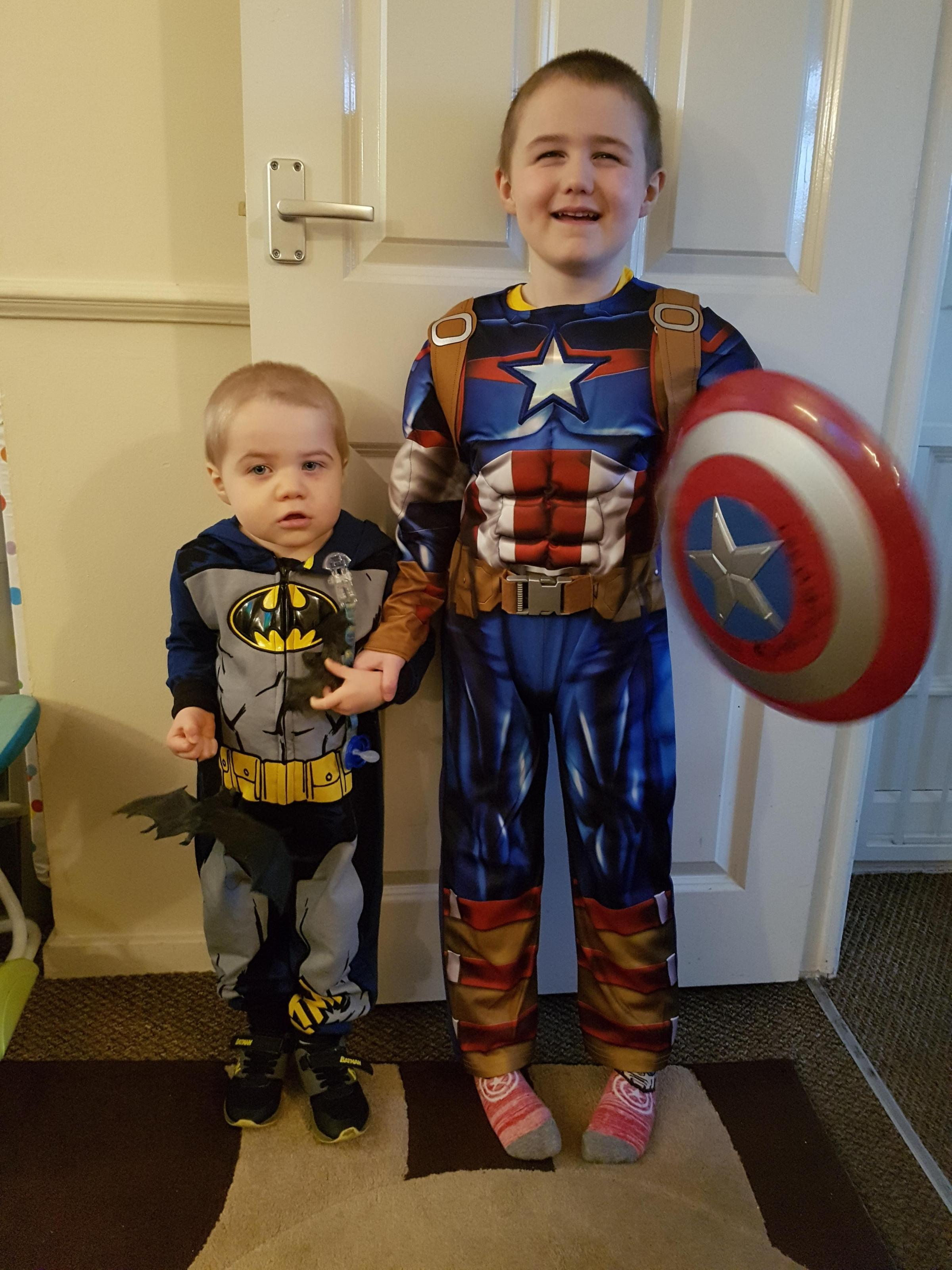 Droitwich Advertiser: My 2 sons Lee Hartill  age 5 dressed as Captain America and Ben Hartill age 2 dressed as Batman