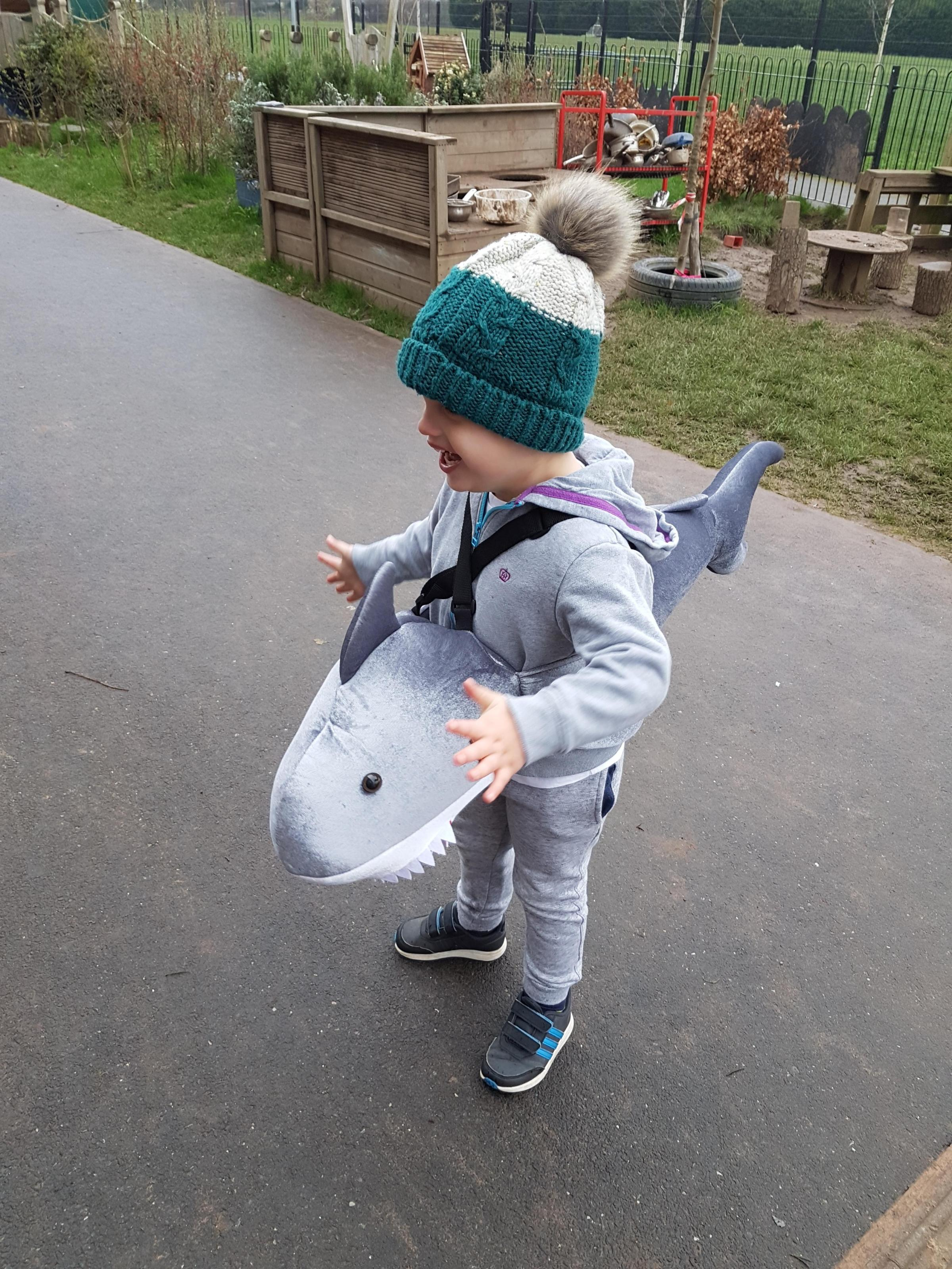 Droitwich Advertiser: Jacob age 4 dressed as shark in the park