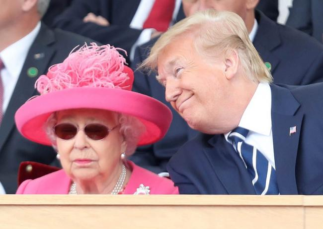 Queen Elizabeth II and US President Donald Trump during commemorations for the 75th Anniversary of the D-Day landings at Southsea Common, Portsmouth, in June 2019. Picture: PA WIRE