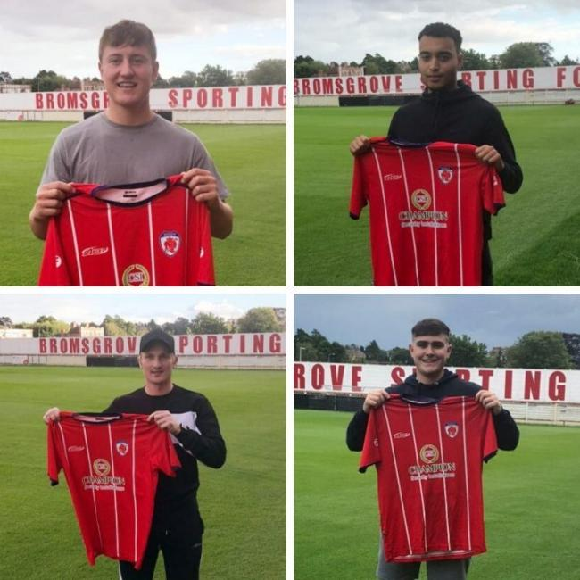 Bromsgrove's quartet of new signings - clockwise, from top left: Harry Higginson, Josh Ezewele, Jamie Gray and Chris Lait.