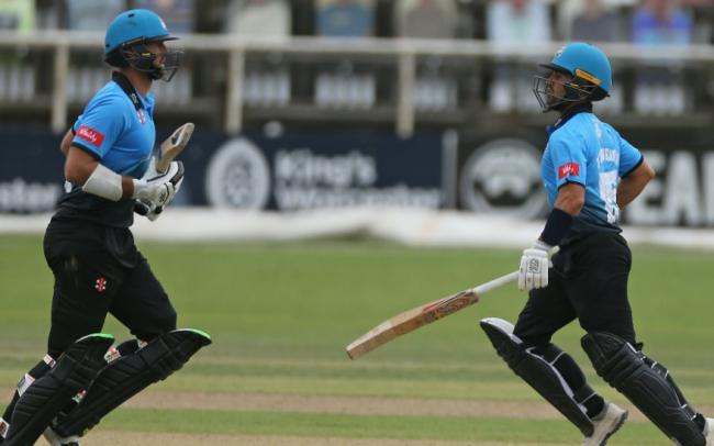 DEFEAT: Ross Whiteley and Brett D'Oliveira during Worcestershire's defeat against Gloucestershire in the T20 Blast. Pic. Worcs CCC