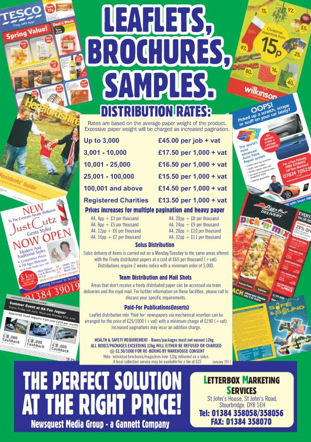 Droitwich Advertiser: leaflet distribution latest prices