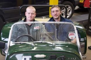 Driving ambition: James Livingstone, left and Aaron Hibbert.