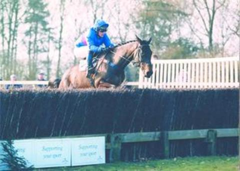 Droitwich Advertiser: Cappa Bleu when being ridden by owner Angela Rucker at a point-to-point meeting.