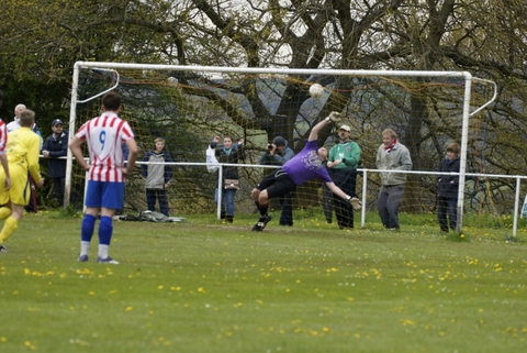 On the spot: Sporting's Joe Brookes' penalty hits the back of the net. Pitcure: Rob McLaren.