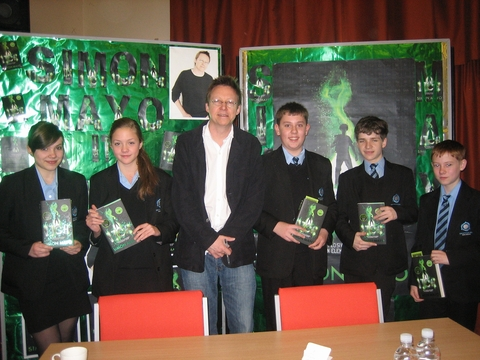 Simon Mayo with pupils Alice Day, Francesca Daniels, George Bough, Jordan Kettle and Jack Harper.