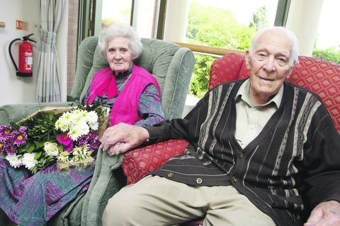 George and Eleanor Naish celebrating 70 years of marriage.