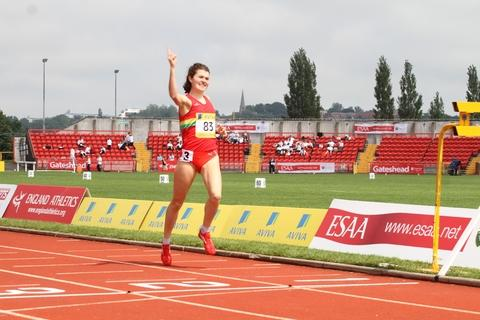 In her stride: Becky Straw savours victory in Gateshead