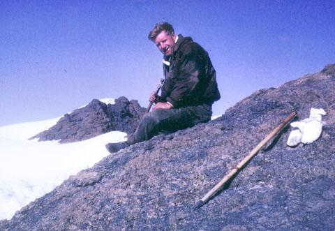 AT HIS PEAK: Gerry Marchment pictured at the summit of Kilimanjaro in 1963 while serving in the Army.
