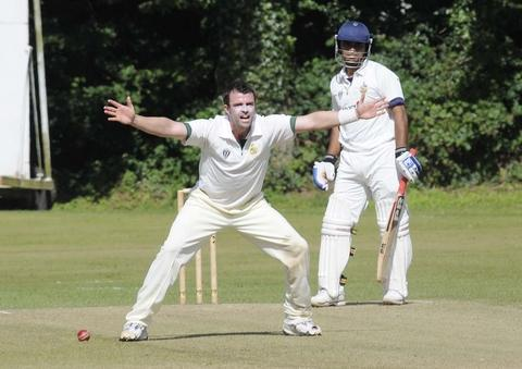 Howzat?: Andrew Sutton successfully appeals the wicket of Rajat Bhatia. Picture: MARTIN HUMBY.