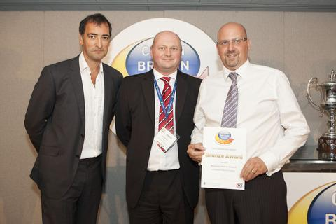 Alistair McGowan, who hosted the awards, Steve Lee, CEO of the Chartered Institute of Wastes Management, and Phil Childs ffrom Wychavon District Council