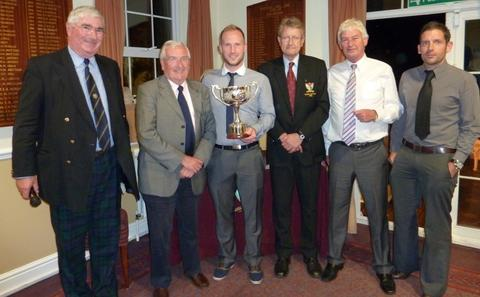 Organiser Graham Robertson and Droitwich Golf Club 2012 captain John Whitehead with Mike Hardiman, Matt Edwards, Kevin Churchill and Jonathan Hardiman from winning team The Worcester Hospital Contributors Association.