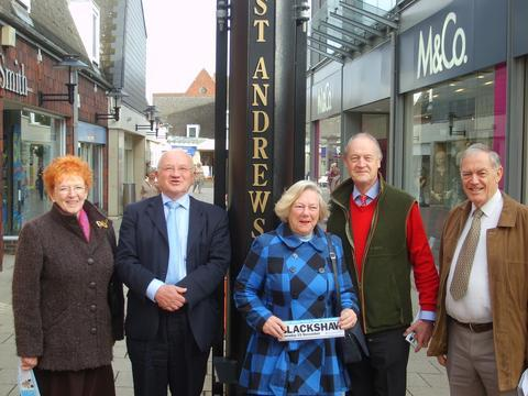 Councillor Glenise Noyes, Kevin O'Hara, St Andrews shopping centre manager, Councillor Pam Davey, Adrian Blackshaw and Councillor Graham Beale.