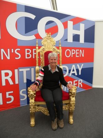 On the throne: Ombersley Lady Captain Dr Sue Jenkins.