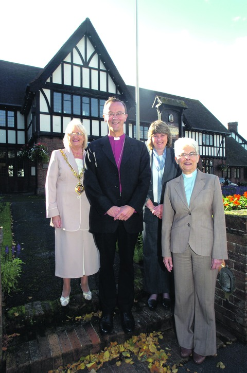 Mayor of Droitwich, Anne Taft, the town's area partnership manager Janet Yates and Canon Sheila Banyard welcome the Bishop of Worcester, the Rt Rev Dr John Inge