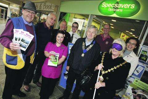 Mayor Anne Taft helps highlight the problems faced by blind and partially sighted visitors to the town