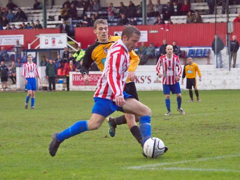Droitwich Advertiser: Pushing forward: Jon Rogers goes on the attack for Sporting. Picture: ANDRE ROBERTS.