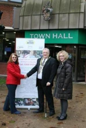 Rosie Powell from Carers Careline, with Redditch mayor Alan Mason, and Wendy Rothwell from the Worcestershire Association of Carers