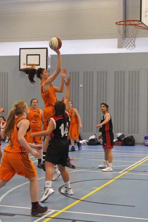 Hoop dreams: Becky Taylor gets some air for Bromsgrove Bears girls under-16s. Picture: CRAIG ROSS
